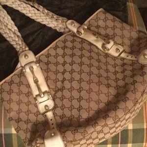 Gucci Logo Cream Braided Leather Horsebit Satchel